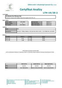 Certyfikat analizy Verdesana ekstrakt konopny 10% CBD