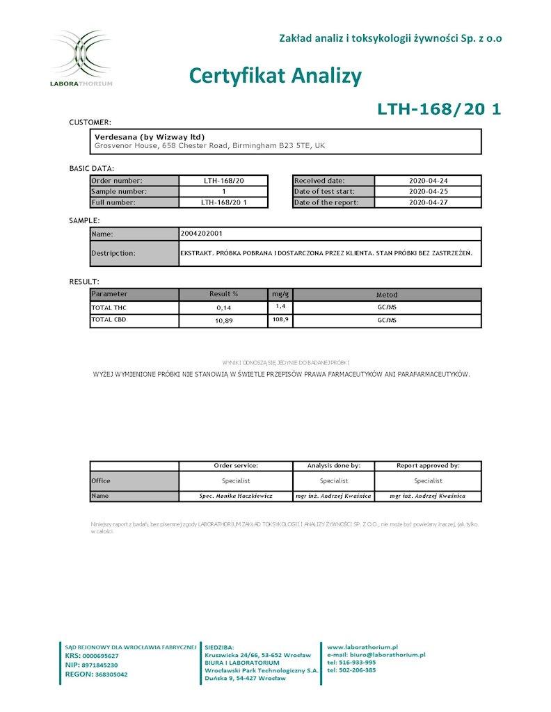 certyfikat analizy z badania oleju cbd z labaoratorium