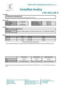 Certyfikat analizy Verdesana ekstrakt konopny 20% CBD